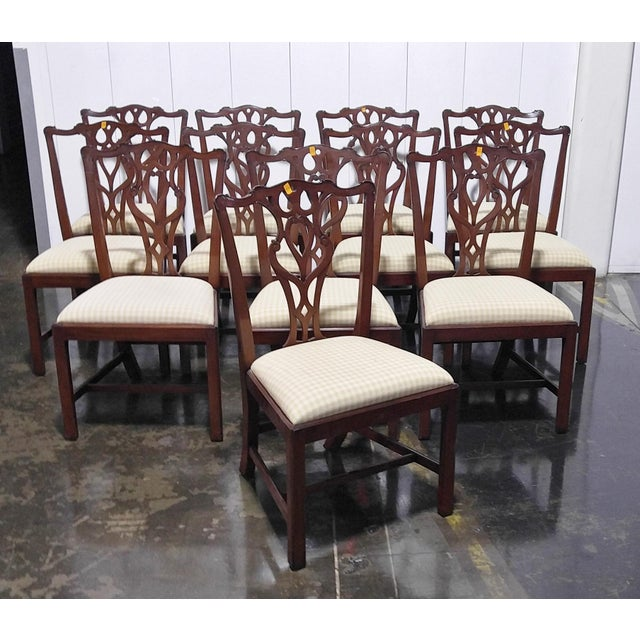"""1990s English Chippendale Dining Chairs by """"Restall, Brown & Clennell Ltd"""" - Set of 12 For Sale - Image 13 of 13"""