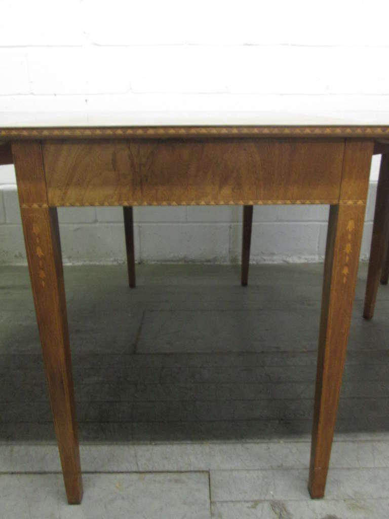 Hepplewhite Style Inlaid, Demilune Three Part Banquet Dining Table   Image  10 Of 10
