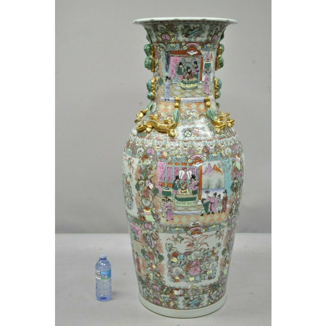 "Vintage Rose Medallion Large 44"" Tall Chinese Export Porcelain Palace Urn Vase. Listing includes hand painted details,..."