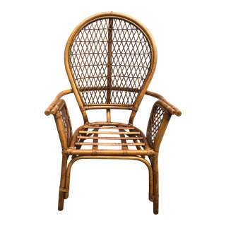 Final Price! Vintage Rattan Bentwood Fan Back Arm Chair For Sale