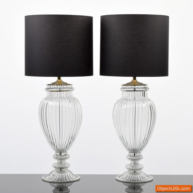 Black Vintage Mid Century Barovier & Toso Style Monumental Murano Lamps- A Pair For Sale - Image 8 of 9