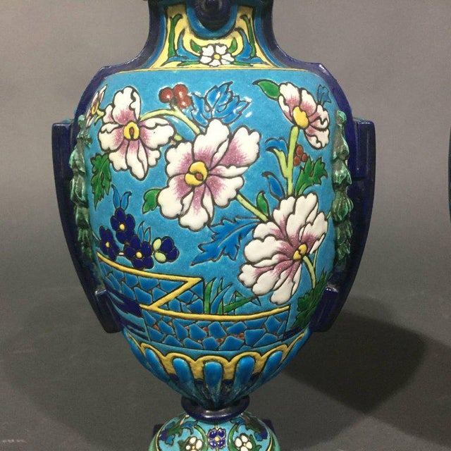 Pair of Emaux de Longwy Attributed Floral Enameled Vases, France For Sale In New York - Image 6 of 10