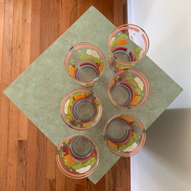 Vintage 1950s Floral Kitsch Drinking Glasses - Set of 6 For Sale - Image 9 of 10