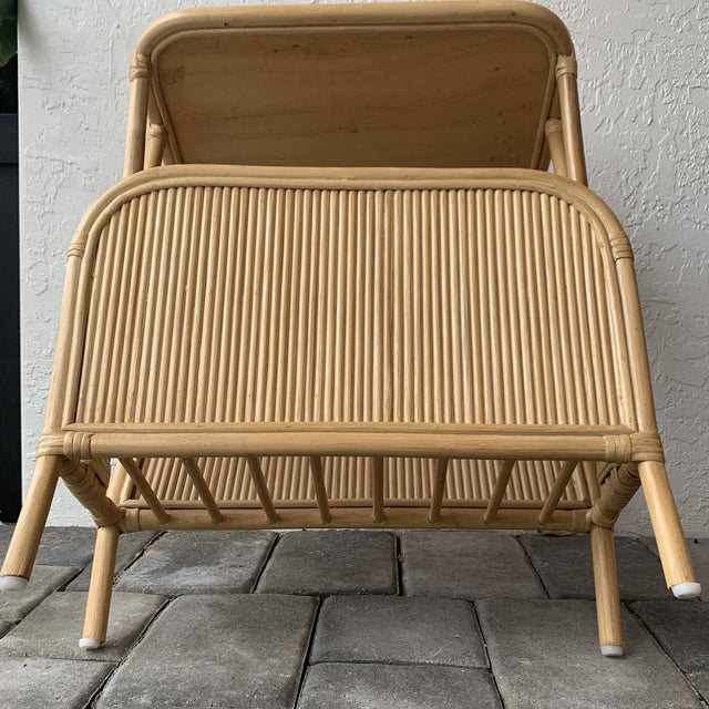 1970s Rattan Split Reed Magazine Rack Side Table For Sale - Image 11 of 12