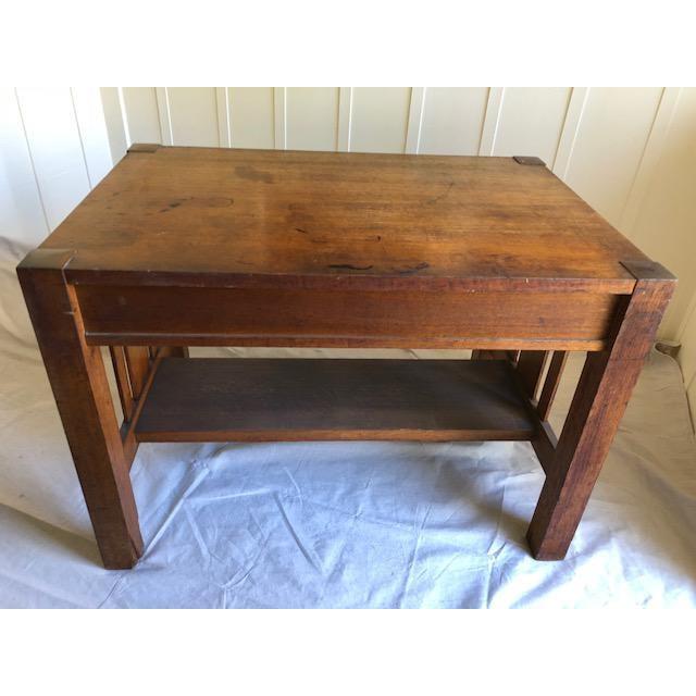Antique oak wood mission desk - slat wood sides, a shelf stretcher and  center drawer. Mission 1920s Mission Style Writing ... - 1920s Mission Style Writing Desk Chairish