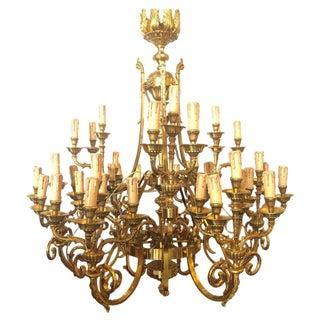Monumental Bronze Thirty-Nine-Light Baroque Chandelier For Sale