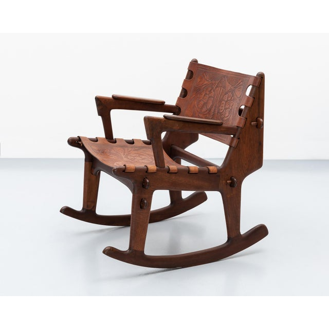Rosewood and Leather Rocker by Angel Pazmino, Ecuador, 1960s For Sale - Image 9 of 9