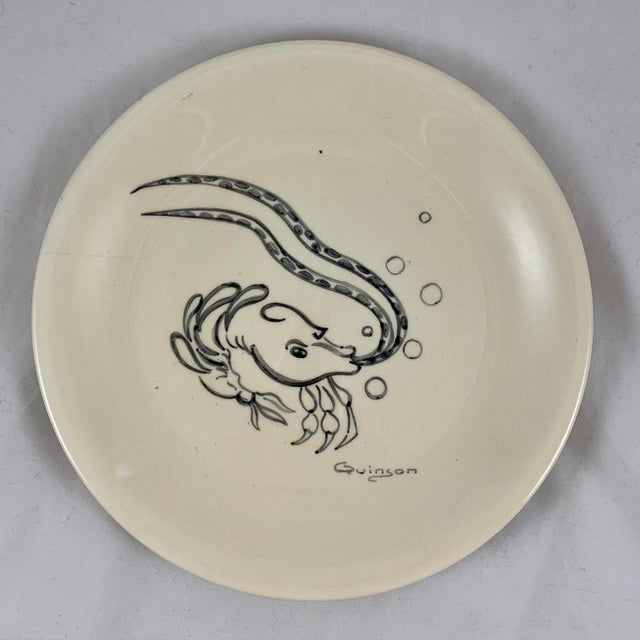 French Mid-Century French Hand-Painted Quinson Fish Plates - Set of 6 For Sale - Image 3 of 13