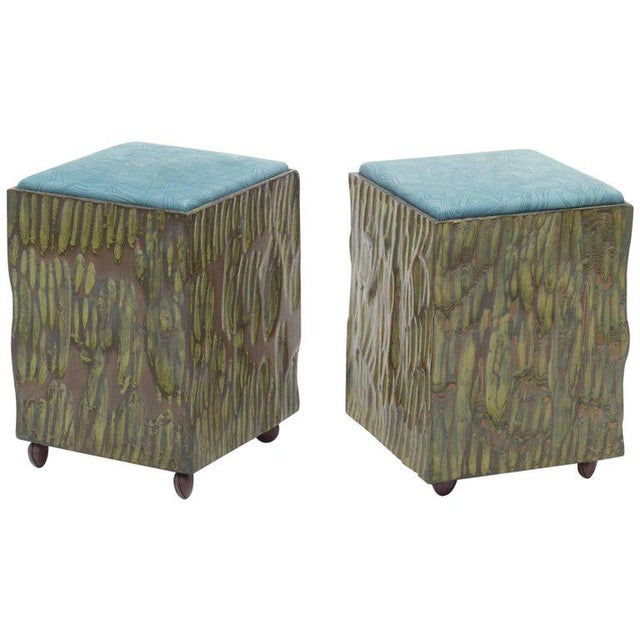 Phillip Lloyd Powell Painted Hand-carved Stools With Abstract Patterned Textile - Image 7 of 7
