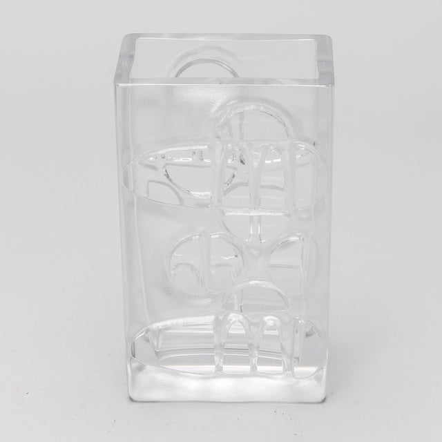 Scandinavian Molded Clear Glass Vase For Sale - Image 4 of 6