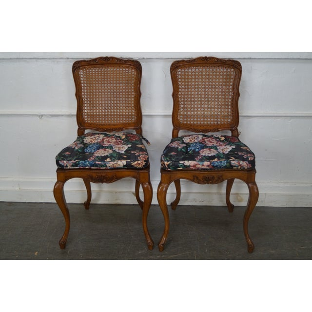 Vintage Carved Walnut Dining Chairs - Set of 4 - Image 2 of 10
