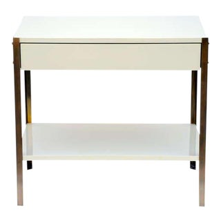 Pair of Minimalist Ivory Lacquer and Brass Nightstands-a Pair Preview