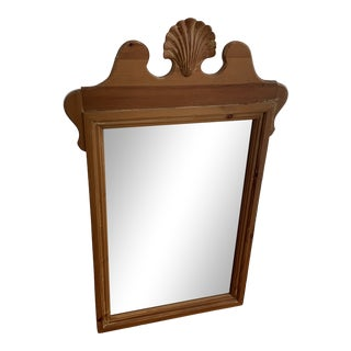 1970s Pine Shell Carved Mirror For Sale