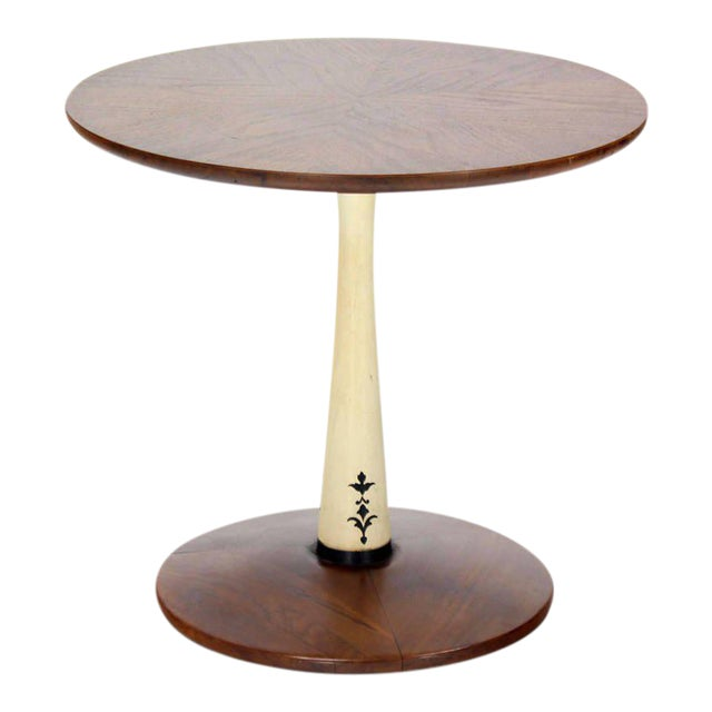 Mid-Century Modern Solid Walnut Weighted Base Round Side Table - Image 1 of 10
