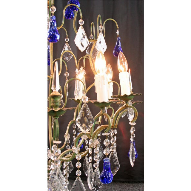 Large Maria Theresa Style 12-Arm Chandelier Blue - Image 3 of 8