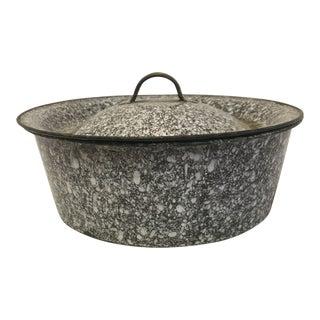 Antique Brown Granite Lidded Pan