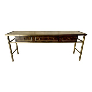 Vintage Mastercraft Burl Wood and Brass Console Table For Sale