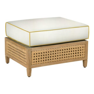 Keys Ottoman, White and Sunflower Yellow For Sale