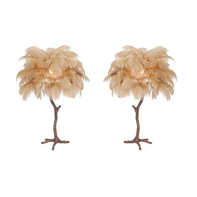 Hollywood Regency Bronze Tree Feather Lamp For Sale - Image 3 of 7