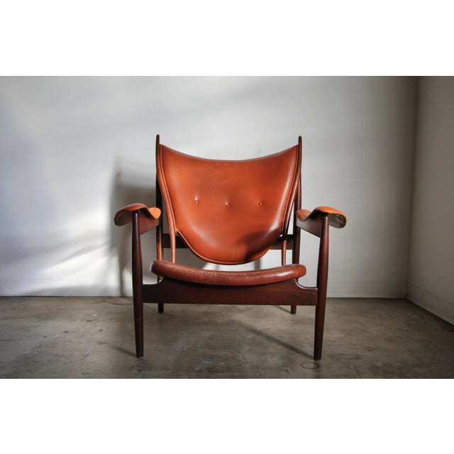 Oxblood Red 1990s Finn Juhl Chieftain Chair in Mahogany by Interior Crafts For Sale - Image 8 of 8