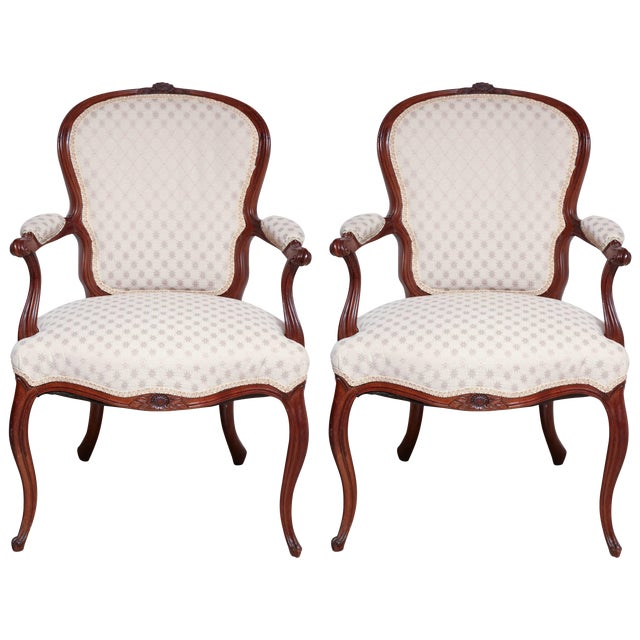Pair of George III Carved Armchairs For Sale
