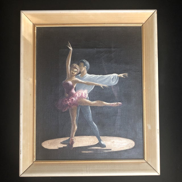 Beautiful vintage oil painting of a male and female ballet dancers on stage in mid pose. Unsigned. Painting is 8x10.