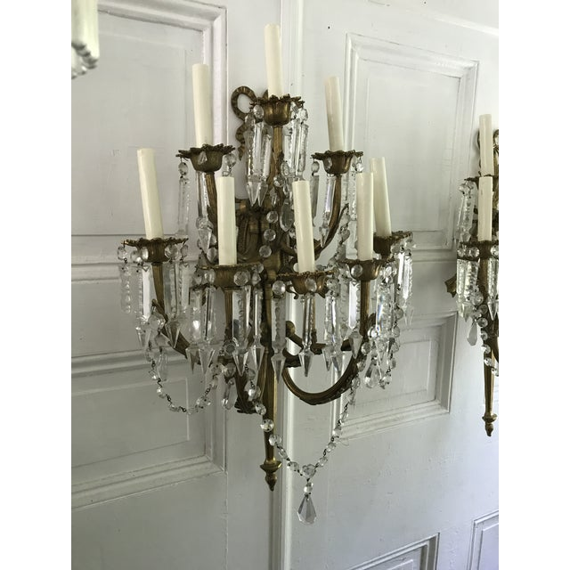 A Pair of Antique French Crystal Bronze 18 Light Sconce Pair - Image 4 of 6