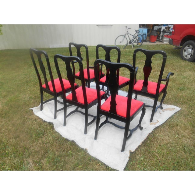 1980s Sculptural Black Lacquer & Red Suede Italian Dining Chairs-Set of 6 For Sale - Image 5 of 9