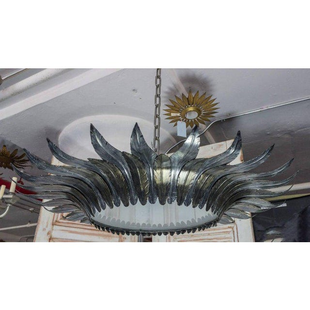 Spanish Flush Mount Sunburst Ceiling Fixture With Silver and Gold Leaves - Image 3 of 11