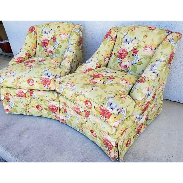 English Century Furniture Company Floral Tropical Upholstered Skirted Club Chairs - a Pair For Sale - Image 3 of 8