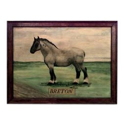 20th Century American Country style oil painting of horse Breton signed BENEDETTO For Sale