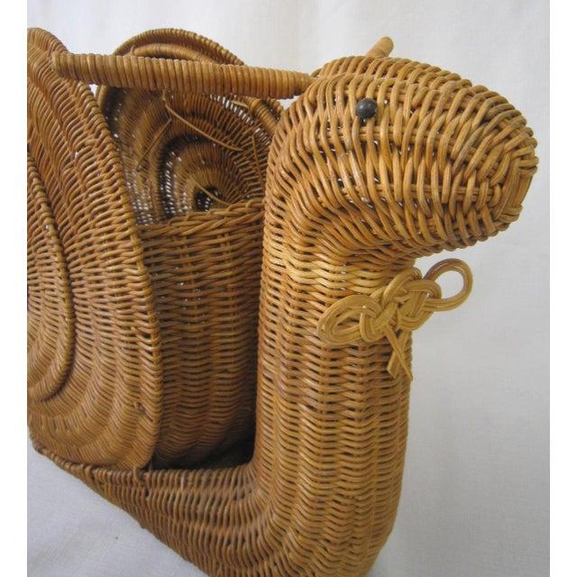 Vintage Wicker Snail Basket For Sale - Image 6 of 8