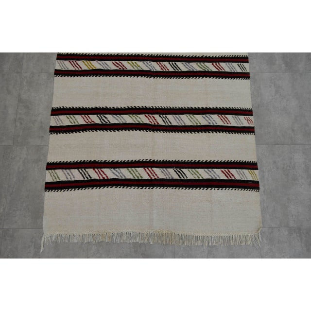 Vintage Natural Stripe Turkish Cotton Kilim Rug - 4′3″ × 8′ - Image 7 of 9