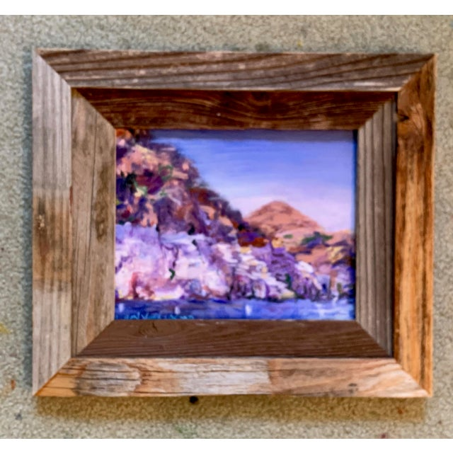 """Canvas """"Lake Mead Nevada"""" Contemporary Landscape Oil Painting, Framed For Sale - Image 7 of 7"""