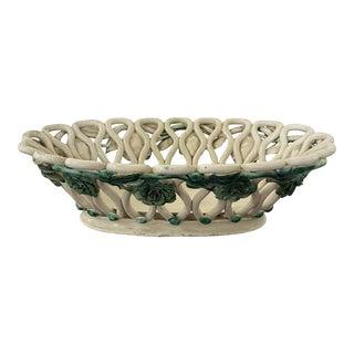 Antique Italian Majolica Basket For Sale