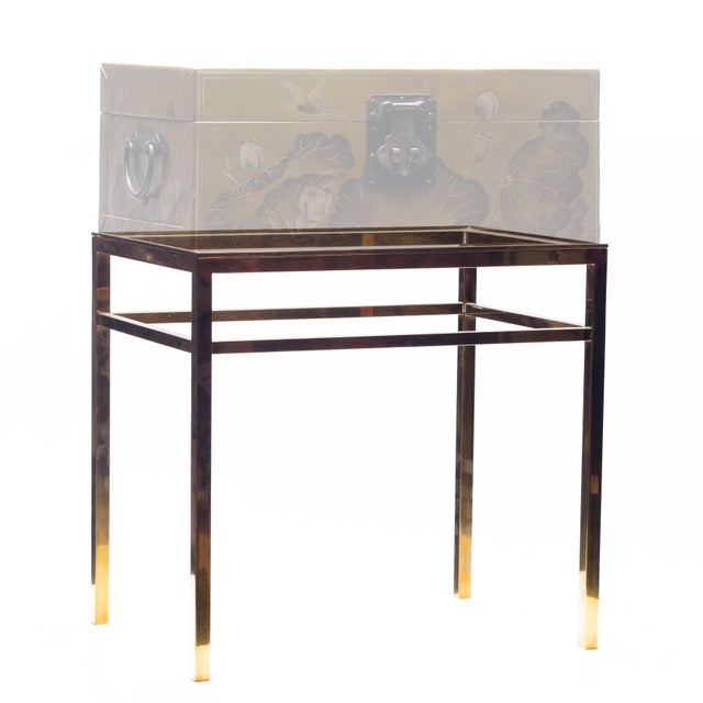 Metal Lawrence & Scott Regalia Leather Box in Mahogany With Brass Stand as Side Table For Sale - Image 7 of 11