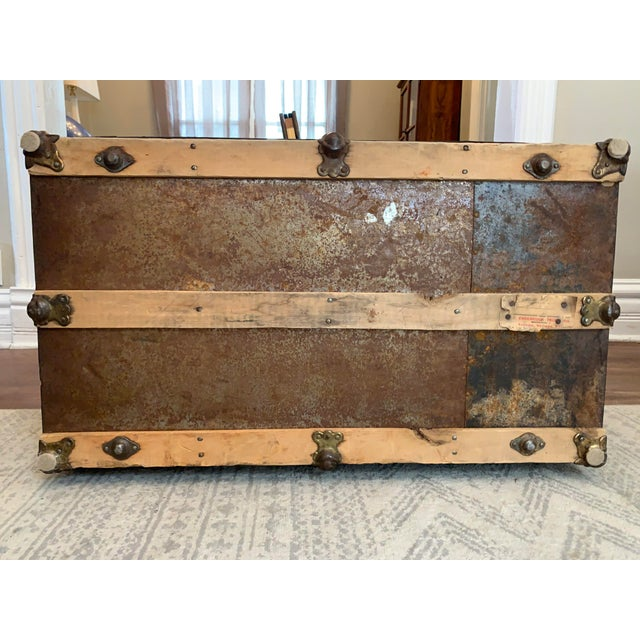 Dark Green Antique Endebrock Trunk Co Dark Green Railway Travel Trunk With Brass For Sale - Image 8 of 13