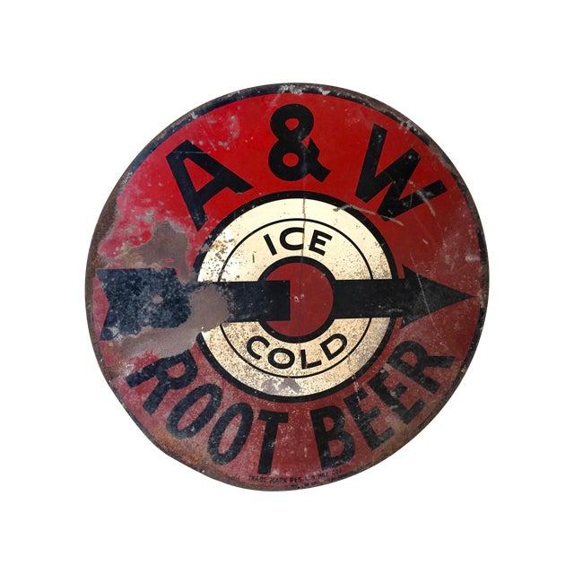 Vintage 1950s A&W Rootbeer Metal Sign - Image 1 of 5