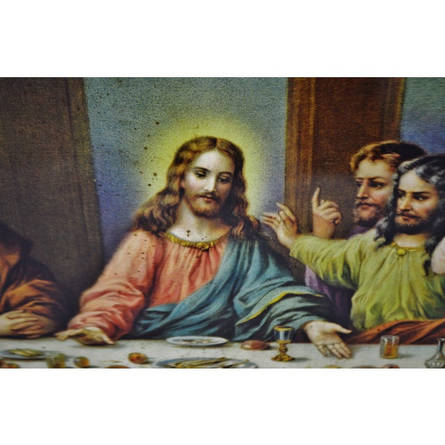 Early H. Zabateri Framed Last Supper Print - Image 6 of 10