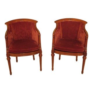 1990s Vintage Century Small Scale French Louis XVI Club Chairs- A Pair For Sale