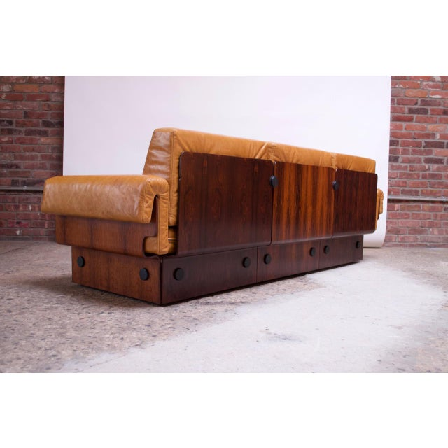 Brazilian Modern Rosewood and Leather Modular Sofa or Settees - 4 Pc. Set For Sale In New York - Image 6 of 13