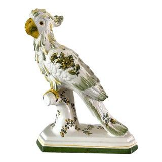 Mid Century Italian Floral Porcelain Parrot For Sale