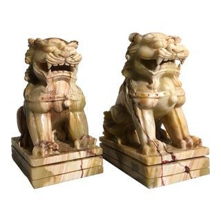 Late 20th Century Vintage Chinese Carved Alabaster Foo Lions - a Pair For Sale