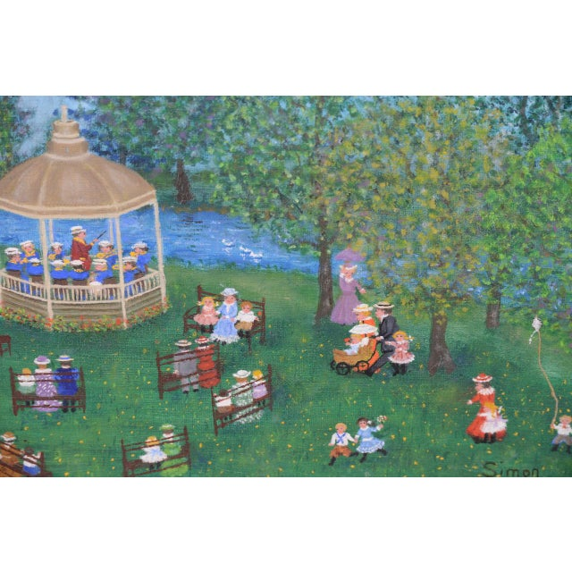 """Mollie Simon """"Bandstand in the Park"""" Vintage Folk Art Painting C.1960s For Sale In San Francisco - Image 6 of 8"""