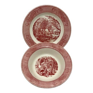 Early 20th Century Currier & Ives Red Transferware Plates- a Pair For Sale
