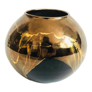 Vintage Black and Gold Art Pottery Vase by Bruce Fairman For Sale