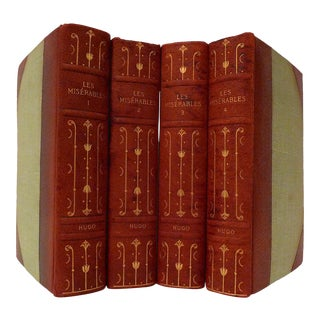 Late 19th Century Leather Volume Set, Victor Hugo's Les Miserables- 4 Books For Sale