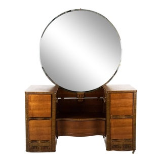 1930s Art Deco Waterfall Vanity and Mirror For Sale