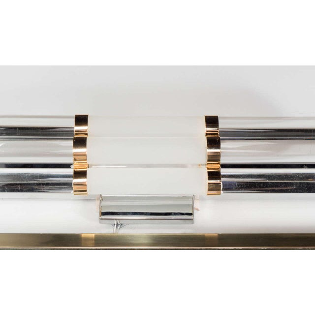 Mid-Century Modern Mid-Century Modernist Skyscraper Style Vanity Light with Brass Fittings For Sale - Image 3 of 7