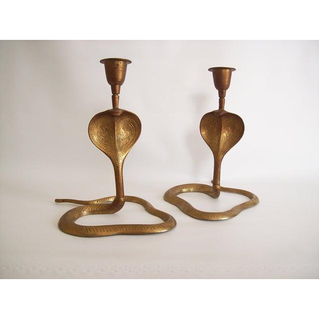 Vintage Brass Cobra Snake Candlesticks - A Pair - Image 2 of 9